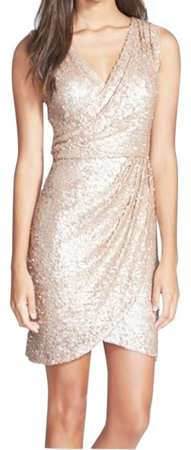 Item - Rose Gold Hailey By Sequin Faux Wrap Mid-length Cocktail Dress Size 2 (XS)