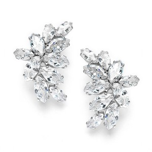 Mariell Shimmering Cubic Zirconia Marquis Cluster Earrrings 3598e