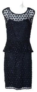 Kay Unger Crochet Beaded Embellished Peplum Knit Dress