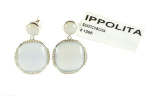 Ippolita IPPOLITA Silver Scultura Cushion Snowman Blue Chalcedony & Diamond Earrings