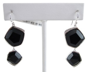 Ippolita IPPOLITA .925 Sterling Silver Black Onyx & Diamond 2 Stone Drop Dangle Earrings