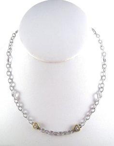 Judith Ripka JUDITH RIPKA .925 Sterling Silver 18K Gold Diamond Heart Chain Link Necklace 16
