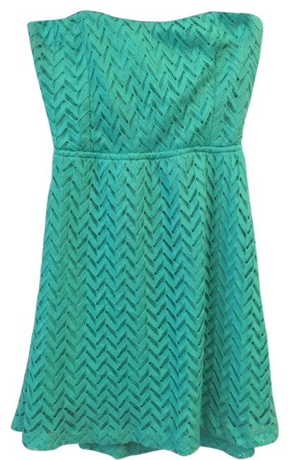 Item - Green Strapless Cut-out Sundress Above Knee Short Casual Dress Size 4 (S)