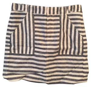 Broadway & Broome Striped Fitted Fall Print Classic Skirt Black & White