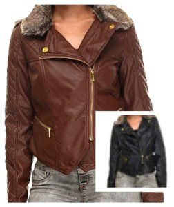 Coogi Brown FAUX Fur DETACHABLE Leather Jacket