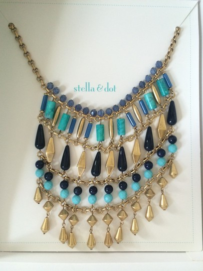 Stella & Dot Stella and Dot Malta Bib Necklace Metal, Turquoise, & Stone Authentic
