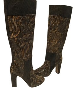 7 For All Mankind Multi Color Internal Platform PRICE REDUCED Black& brown embossed all leather knee Boots