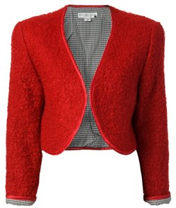 Geoffrey Beene Designer Wool Mohair 10 Womens Cropped Red Jacket