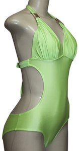 Other Antique Monokini 1pc Halter Sexy Swimsuit Gold Accent Sz S LIME GREEN