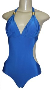 Antique Monokini 1pc Halter Sexy Swimsuit Gold Accent Sz M ROYAL BLUE