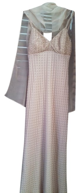 Item - Beige Spaghetti Strap Beaded and Mesh Long Formal Dress Size 6 (S)