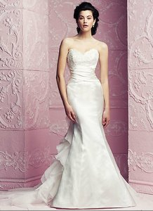 Paloma Blanca Diamond Silk Duchesse/Re-embroidered Lace/Organza 4264 Formal Wedding Dress Size 6 (S)