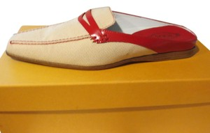 Tod's Red/Off-White Flats
