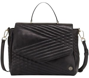 Tory Burch Leather Quilted Lambskin Satchel in Black
