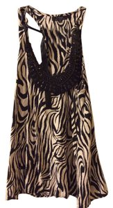 T-Bags Los Angeles Zebra Animal Print Out Date Night Top Black and white
