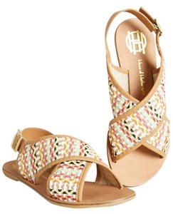 House of Harlow 1960 Leather Woven Weave Two-tone Crisscross Strap Rare Unique White Multi Ecru Sandals