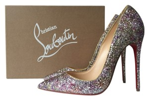 Christian Louboutin Rosette Glitter Multicolor Pink Gold Pumps