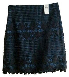Ann Taylor LOFT Skirt blue and black lace