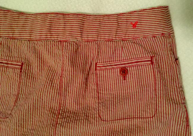 American Eagle Outfitters Seersucker Pink Sexy Mini Skirt Red