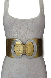 Other Women Fashion Belt Elastic Metallic Gold Hip Waist Wide Silver Hook Buckle