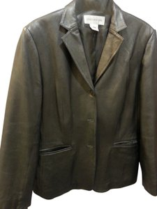 Jones New York Leather Jacket Black Blazer