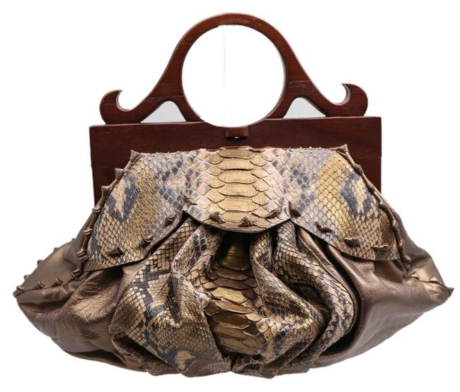 Item - Custom Gold/Brown Top Handle Hand Gold/Brown Python/Wood Tote