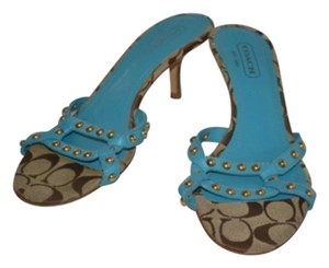 Coach Mules Slides Logo Aqua/brown Sandals