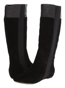 Tsubo Suede Pull On Hidden Wedge Memory Foam Leather Black Boots