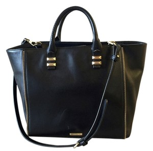 Rebecca Minkoff Zipper Leather Tote in Black