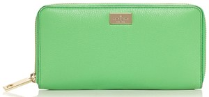 Kate Spade New York Highland Place Neda Zip Around Leather Wallet Green Kate Bud Green Clutch