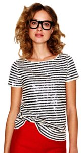 J.Crew Strip Chic T Shirt sequin stripe tee
