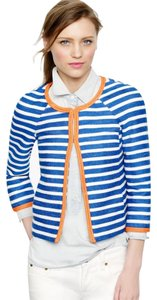 J.Crew Marine Blue Ercu Stripe w/Orange Rope Trim Jacket