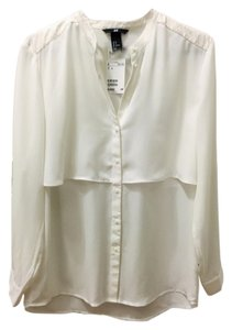 H&M Button-up Faux Leather Button Down Shirt Ivory/Cream