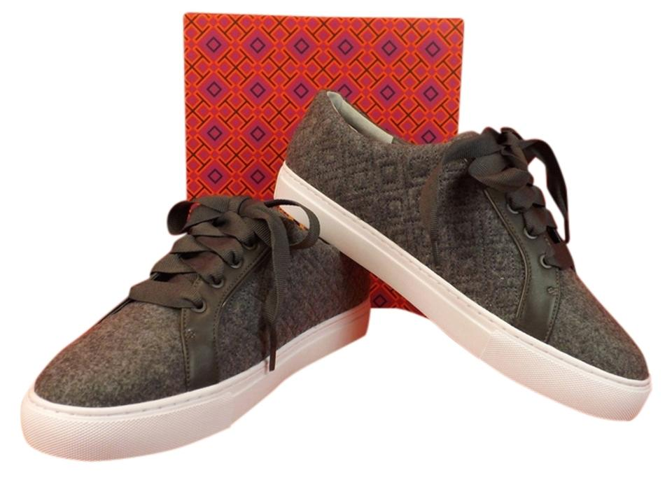 99d00ede2b2 Tory Burch Gray Marion T Quilted Felt Logo Lace Up Sneakers Sneakers ...