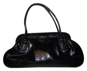 Banana Republic Snakeskin Leather Satchel in black