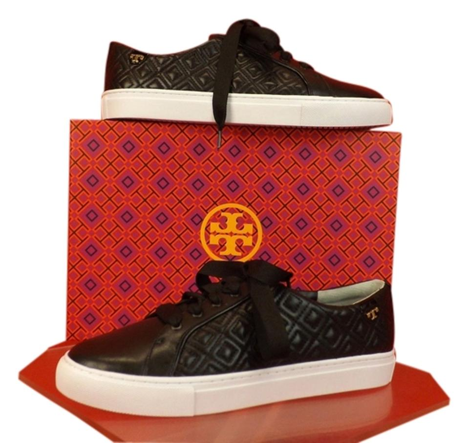2e73d3b5e94ff9 Tory Burch Black T Marion Quilted Leather Logo Lace Up Sneakers Sneakers