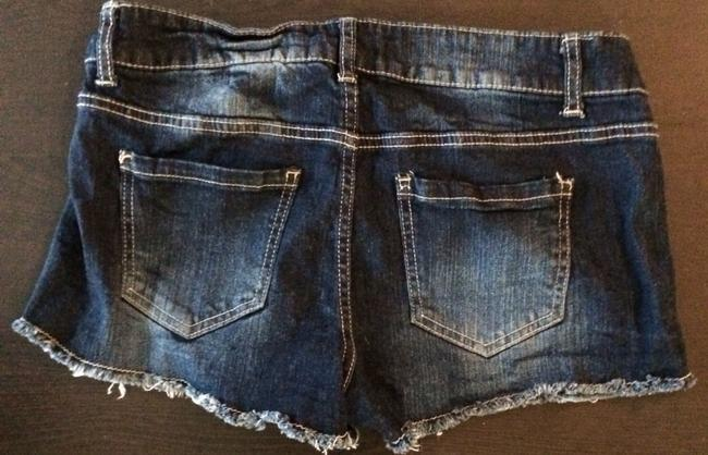 Forever 21 Emb Embellished Sparkle Fringe Hem Summer Shorts Denim