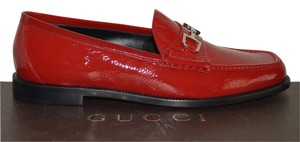 Gucci Leather Horsebit Red Flats