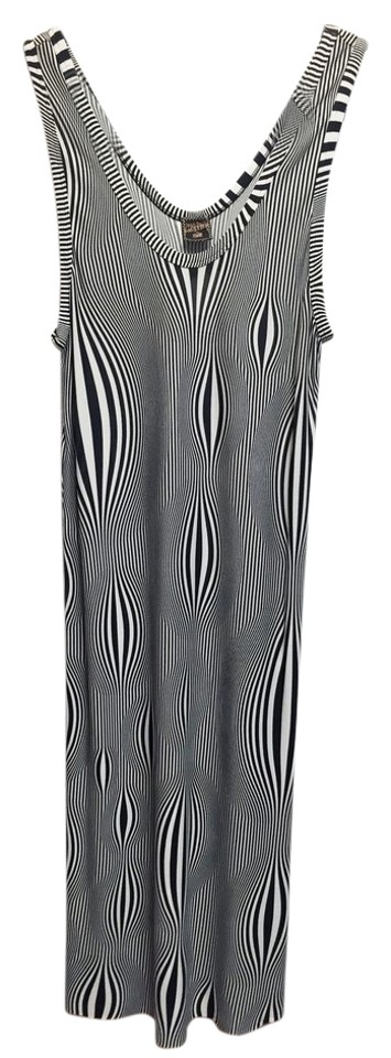 Black Optical Dress Maxi White Tags Casual Still Gaultier Paul Jean Has and EqXPRBvw