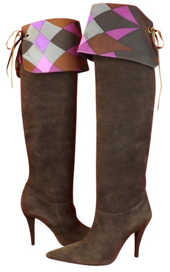 Preload https://img-static.tradesy.com/item/10824142/emilio-pucci-brown-suede-satin-signature-cuff-over-knee-bootsbooties-size-eu-37-approx-us-7-regular-0-1-540-540.jpg
