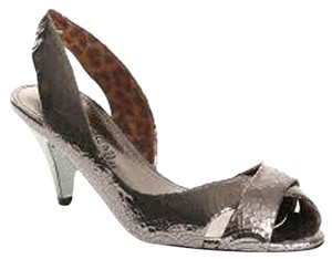 Sam Edelman Leather Silver Slingback Silver Pewter Sandals