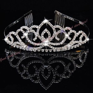 Hot Silver Plated Rhinestone Hairband Headband Tiara + Comb