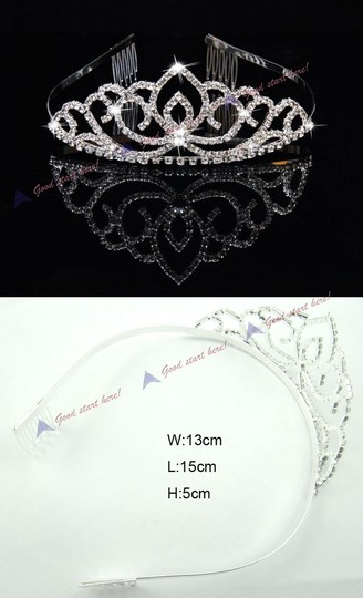 White Hot Silver Plated Rhinestone Hairband Headband Tiara + Comb Hair Accessory
