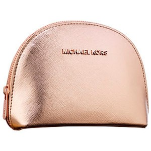 Michael Kors NEW MK JET SET ROSE GOLD AUTHENTIC MAKEUP COSMETIC CASE TOILETRY BAG