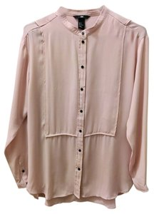 H&M Button Up Chiffon Button Down Shirt Dusty Pink