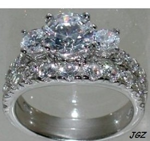 Sterling Silver .925 - 3 Stone Engagement-bridal Set * Size 7 *