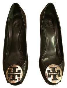 Tory Burch Leather Black With Silver Buckle Wedges