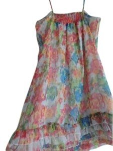 Steve Madden short dress multicolors ,pink, blue ,orange , white, and green Style 65199 Self 100%polyester on Tradesy