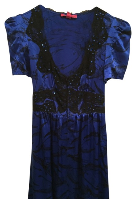 Preload https://img-static.tradesy.com/item/10827040/betsey-johnson-royal-blue-and-black-beaded-lace-trim-knee-length-night-out-dress-size-4-s-0-1-650-650.jpg
