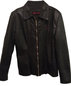 Guess Black Leather Leather Jacket